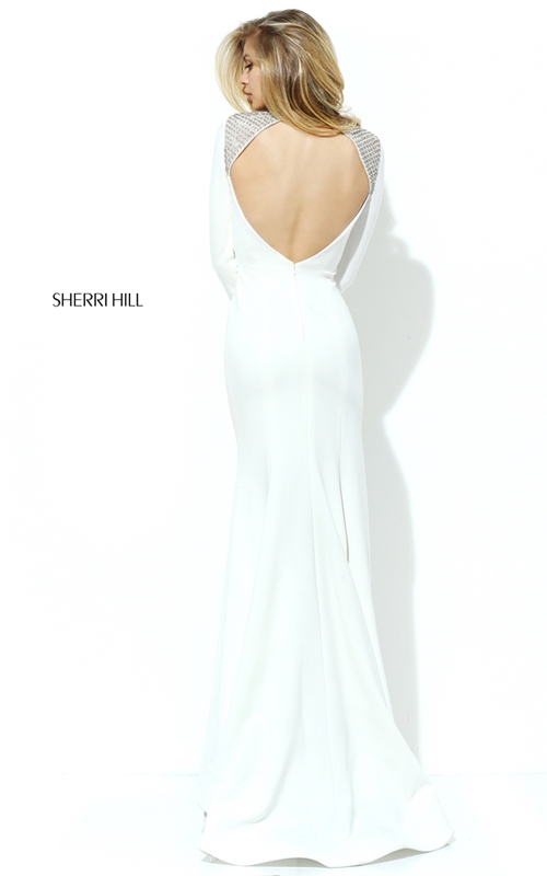 Fitted Sherri Hill 50618 Ivory Open Back Slit Pageant Dress_1