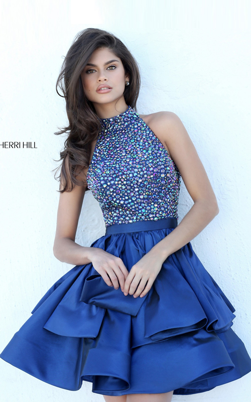 Halter Navy 2016 Sherri Hill Short Beaded A Line Dress 50711
