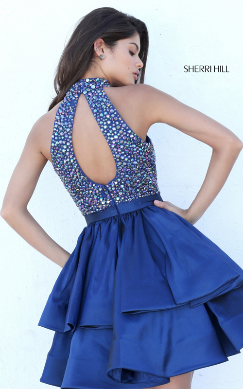 Halter Navy 2016 Sherri Hill Short Beaded A Line Dress 50711_1