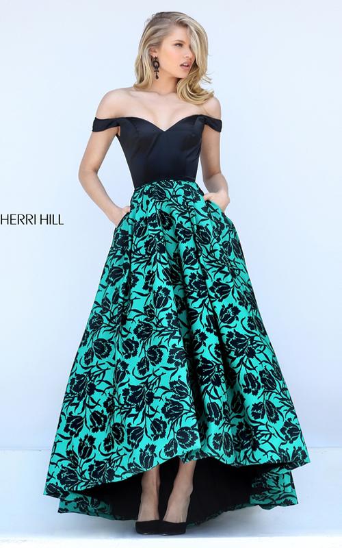 High Low Sherri Hill 50714 Black Emerald Print Taffeta Gown