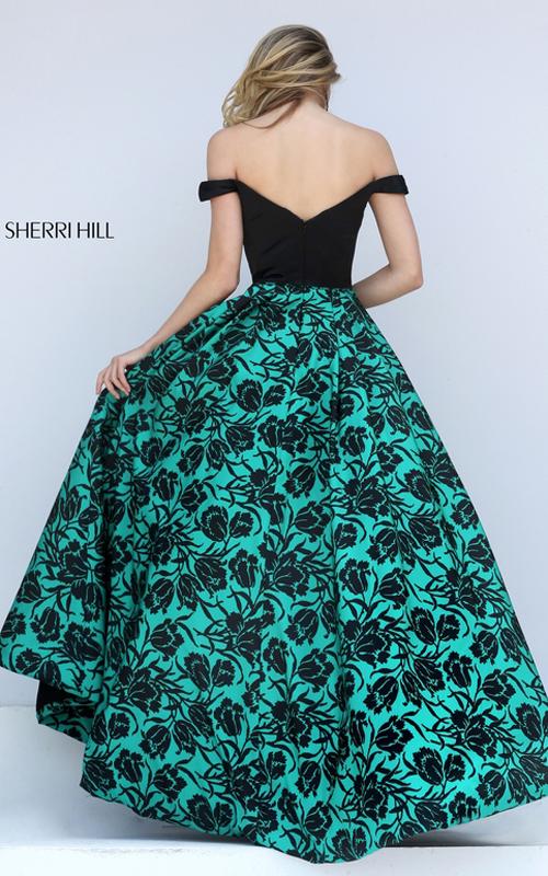 High Low Sherri Hill 50714 Black Emerald Print Taffeta Gown_1