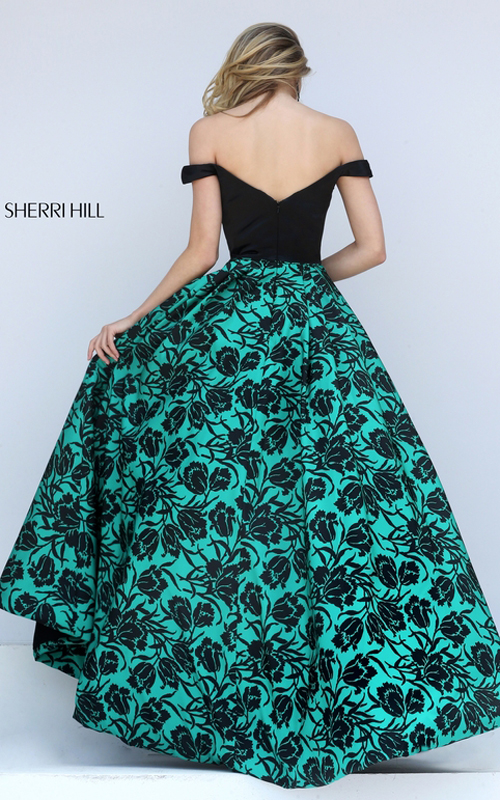High Low Sherri Hill 50714 Black Emerald Print Taffeta Gown_1