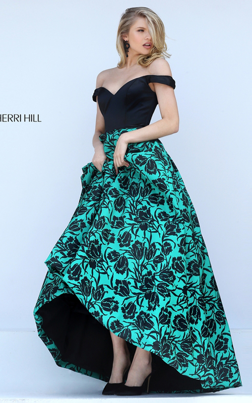 High Low Sherri Hill 50714 Black Emerald Print Taffeta Gown_2