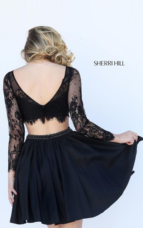Lace Sherri Hill 50556 Beaded 2016 Homecoming Dress Black_1