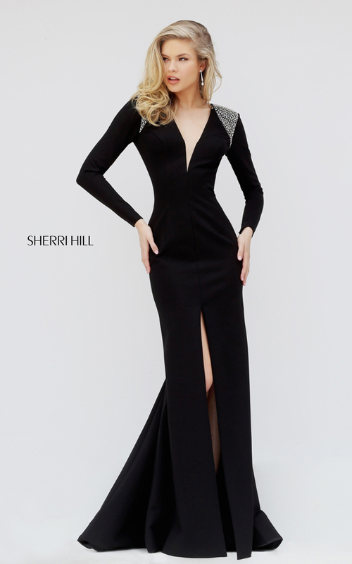 Long Sleeves Sherri Hill 50618 Open Back Prom Dress Black