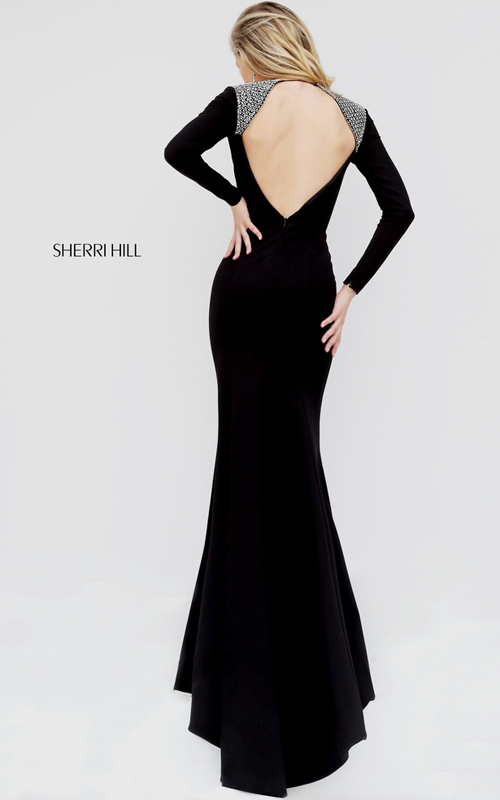Long Sleeves Sherri Hill 50618 Open Back Prom Dress Black_1