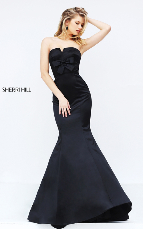 Mermaid Sherri Hill 50543 Black Fitted Satin Evening Gown