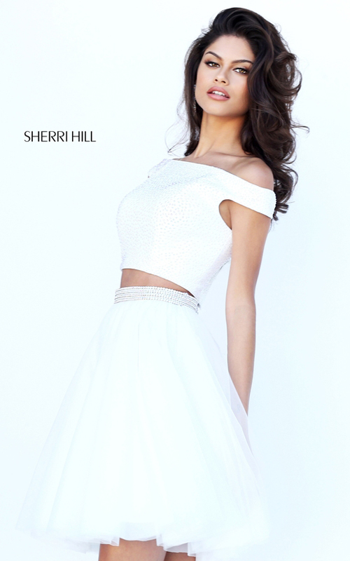 Off the Shoulder Sherri Hill 50497 Ivory Two Piece Dress