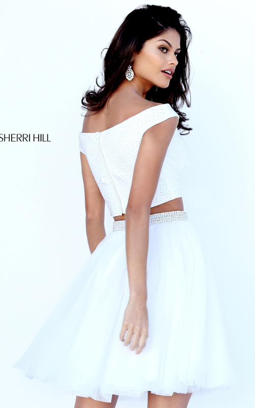 Off the Shoulder Sherri Hill 50497 Ivory Two Piece Dress_1
