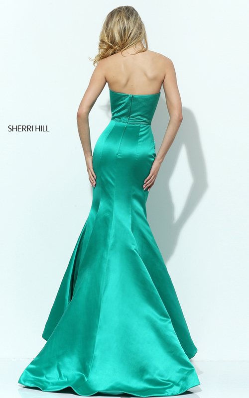 Sherri Hill 50543 Emerald Strapless Mermaid Dress Satin_1