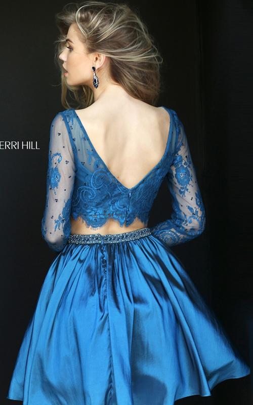 Sherri Hill 50556 Navy Short Beaded Lace Homecoming Dress_1