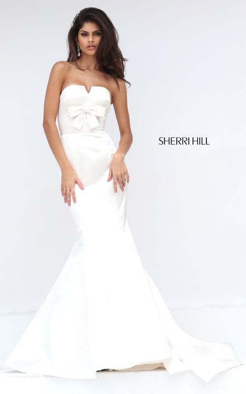 Strapless Sherri Hill 50543 Ivory Mermaid Prom Dress Satin