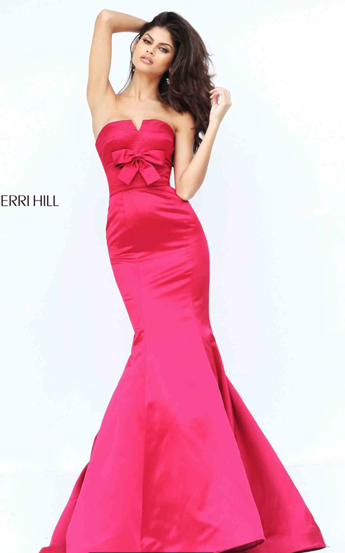 Wine Sherri Hill 50543 Strapless Satin Mermaid Pageant Dress 2016