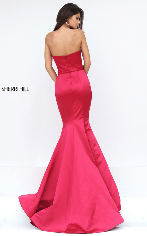 Wine Sherri Hill 50543 Strapless Satin Mermaid Pageant Dress 2016_1