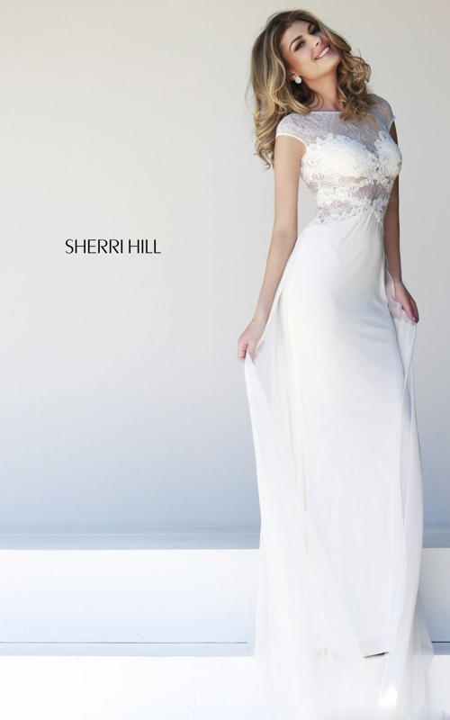 2015 white prom dress long by sherri hill 21365