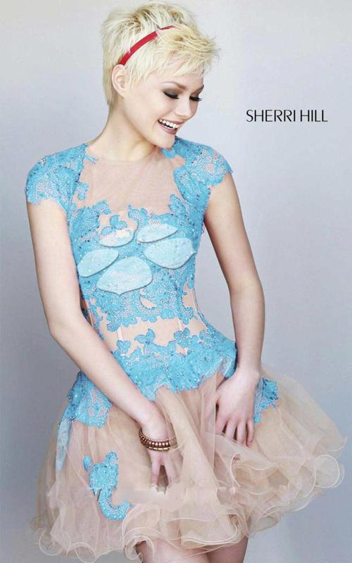 a line lace homecoming dress blue Sherri Hill 11153