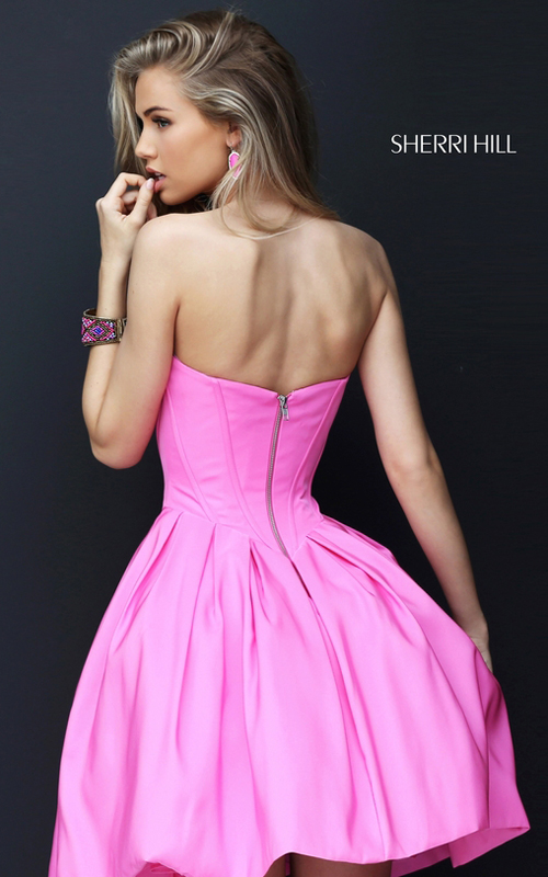 A Line Sherri Hill 50501 Pink Sweet 16 Party Dress Short_1