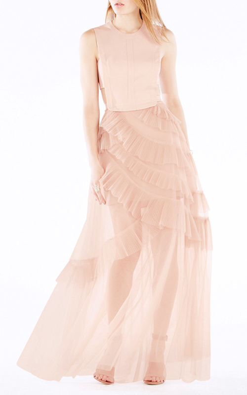 Avalon Sheer Sexy Cutout BCBG Princess Dress Pink 2016