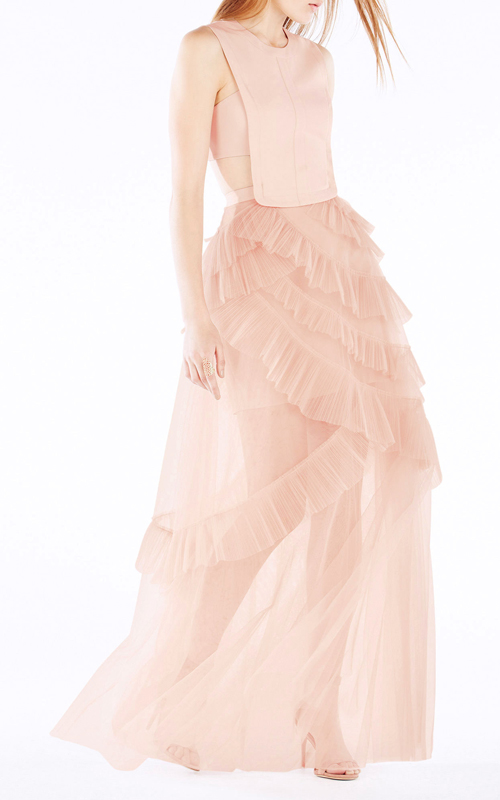 Avalon Sheer Sexy Cutout BCBG Princess Dress Pink 2016_2
