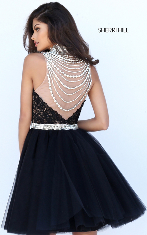 Beaded Sherri Hill 50538 Black Lace Tulle Cocktail Dress_1
