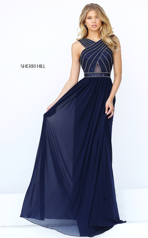Beaded Sherri Hill 50759 Open Back Fitted Evening Gown Navy