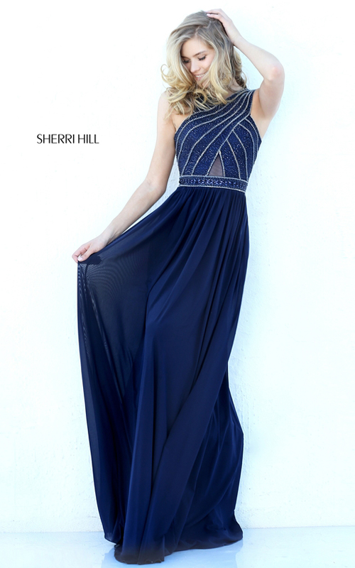 Beaded Sherri Hill 50759 Open Back Fitted Evening Gown Navy_1
