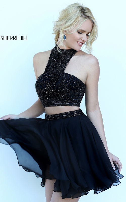 Beads Sherri Hill 50672 Black Halter Homecoming Dress 2016