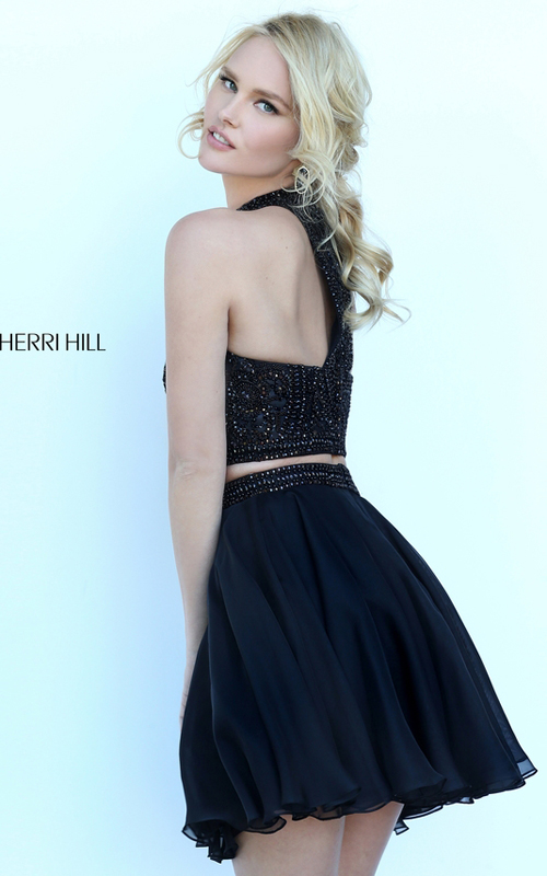 Beads Sherri Hill 50672 Black Halter Homecoming Dress 2016_1