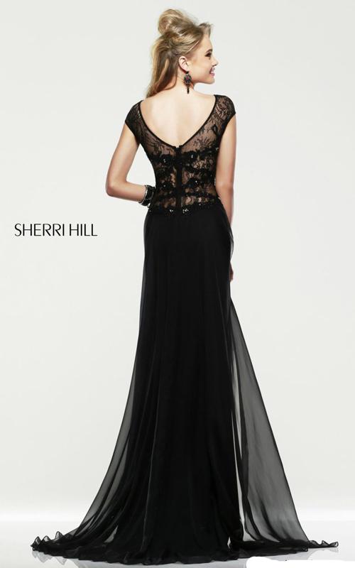 black sherri hill 21365 v-back prom gown 2015-1