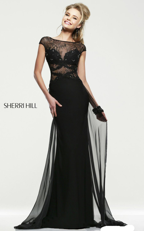 black sherri hill 21365 v-back prom gown 2015