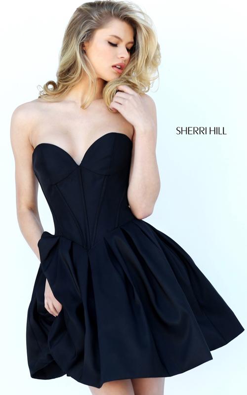 Black Sherri Hill 50501 Sweetheart Cocktail Dress Short