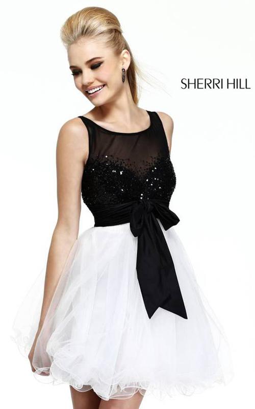 Black White Sherri Hill 11038 Short Homecoming Dress