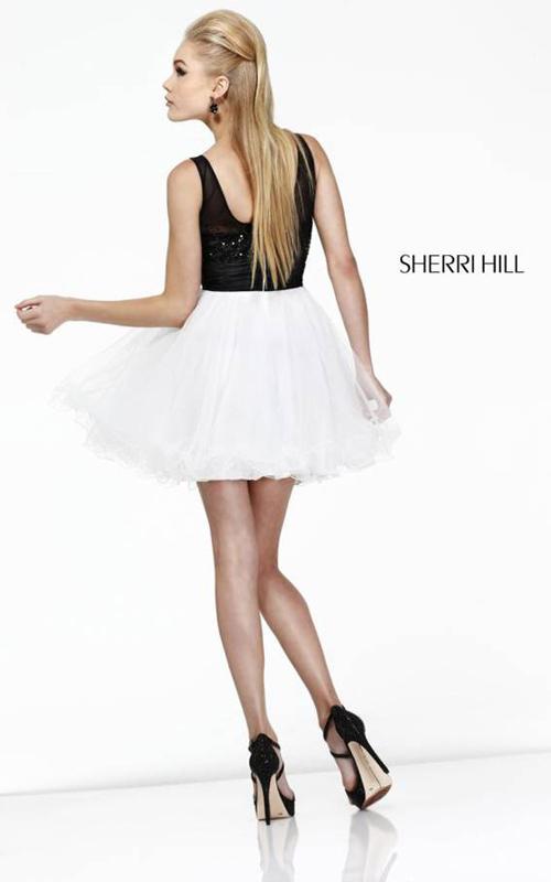 Black White Sherri Hill 11038 Short Homecoming Dress_1