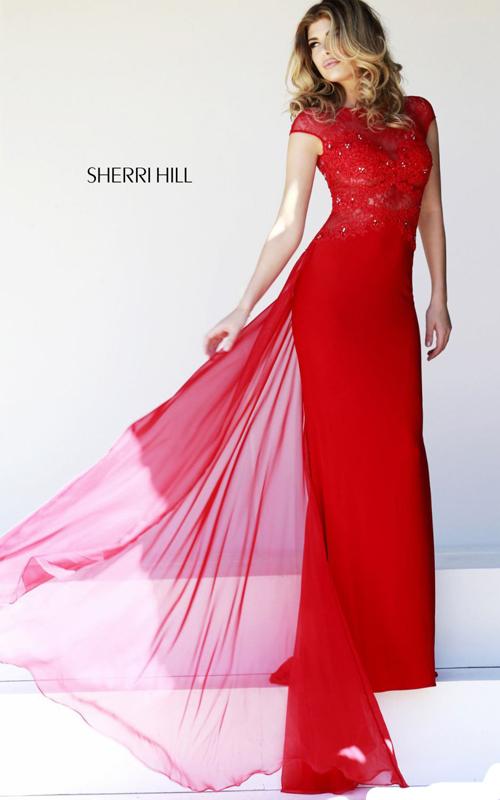 charming 21365 red sherri hill prom dress junior