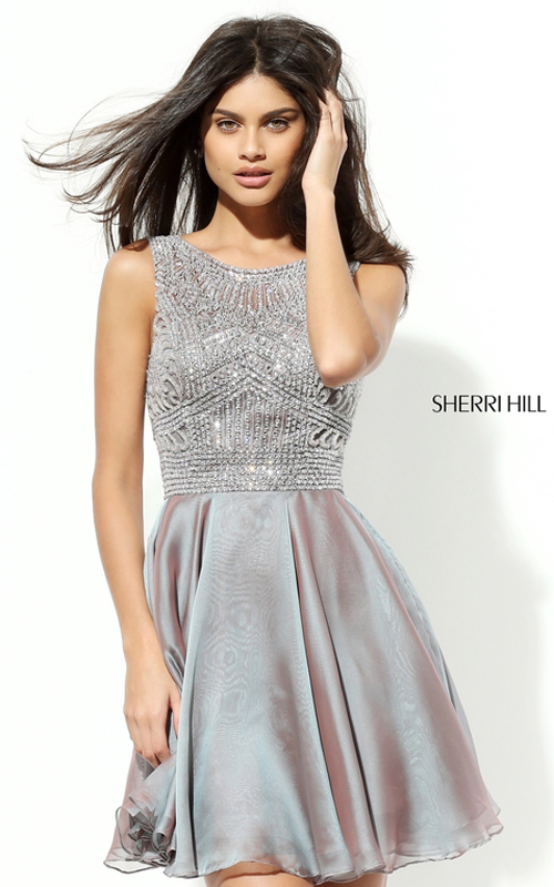 Chiffon Sherri Hill 50517 Silver Beads Sexy Party Dress