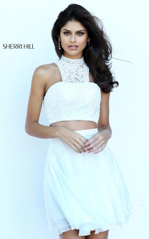 Chiffon Sherri Hill 50672 Two Piece Beads Dress Short Ivory