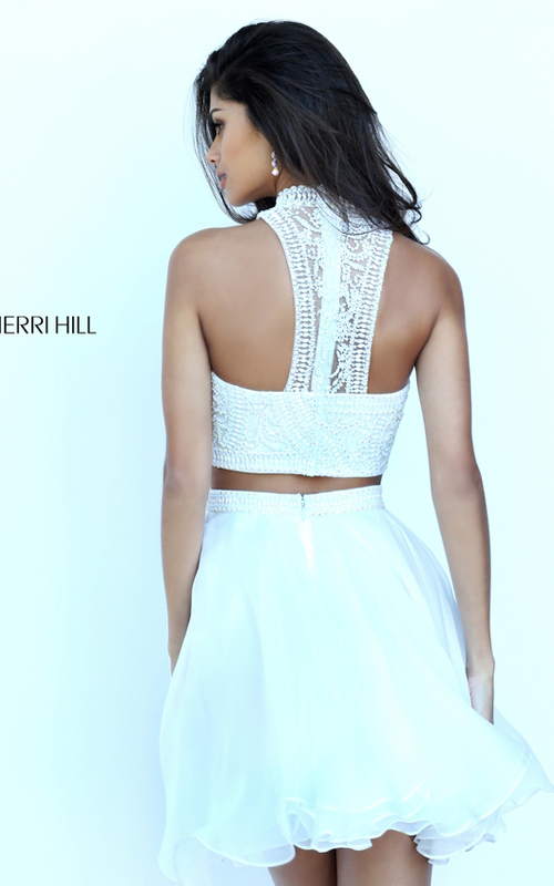 Chiffon Sherri Hill 50672 Two Piece Beads Dress Short Ivory_1