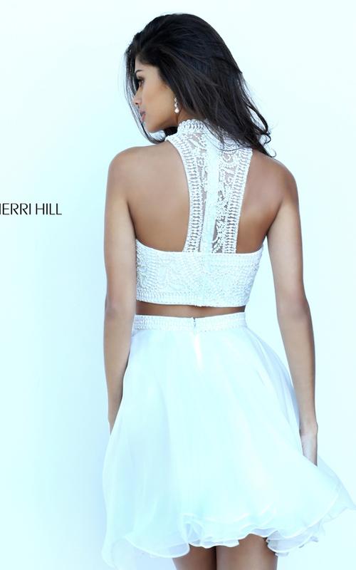 Chiffon Sherri Hill 50672 Two Piece Beads Dress Short Ivory_1