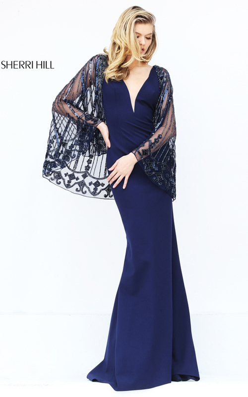 Fitted Sherri Hill 50655 Navy Evening Dress with Beaded Cape