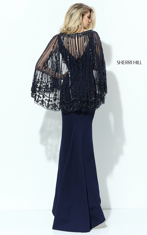 Fitted Sherri Hill 50655 Navy Evening Dress with Beaded Cape_1