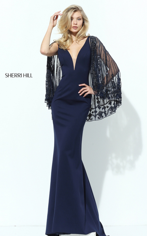 Fitted Sherri Hill 50655 Navy Evening Dress with Beaded Cape_2