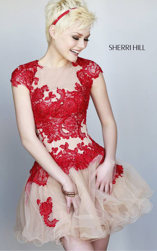 floral Sherri Hill 11153 homecoming dress red nude
