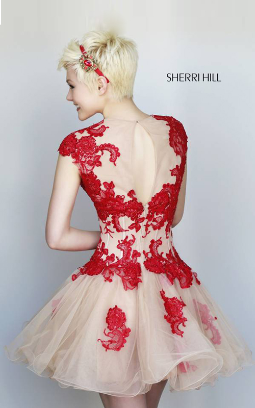 floral Sherri Hill 11153 homecoming dress red nude_1