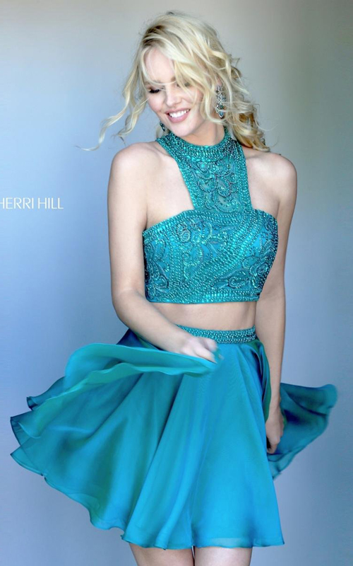 Jade Sherri Hill 50672 High Neck Two Piece Cocktail Dress