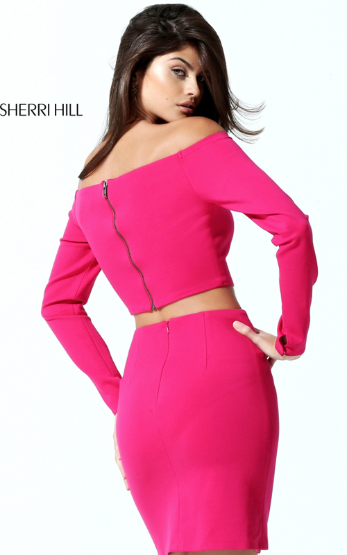 Long Sleeves Sherri Hill 50773 Fuchsia Two Piece Fitted Dress_1