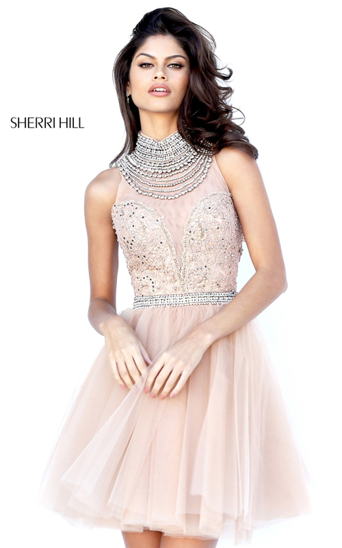 Nude Sherri Hill 50538 Beaded Tulle Homecoming Dress 2016