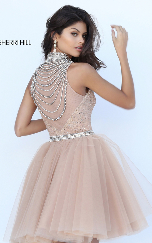 Nude Sherri Hill 50538 Beaded Tulle Homecoming Dress 2016_1