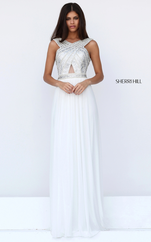 Open Back Sherri Hill Beaded Homecoming Dress Ivory 50759