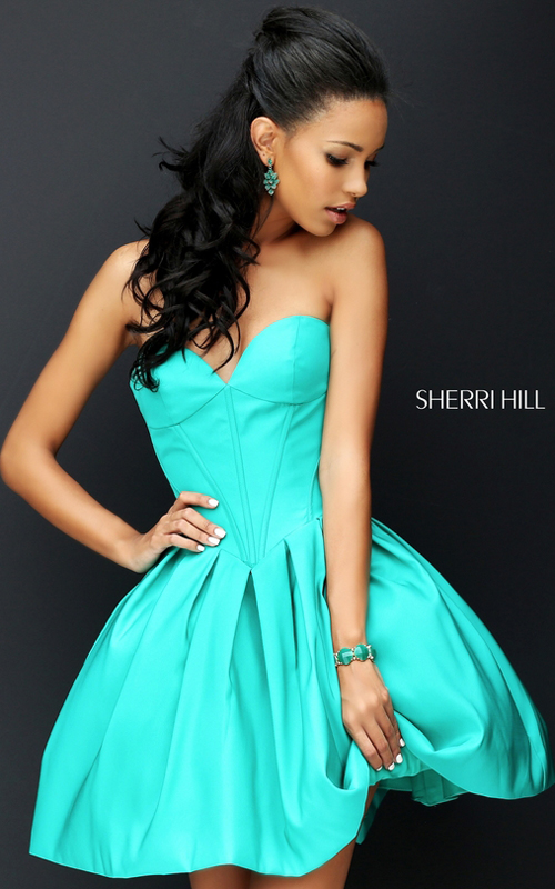 Sherri Hill 50501 Emerald A Line Taffeta Party Dress