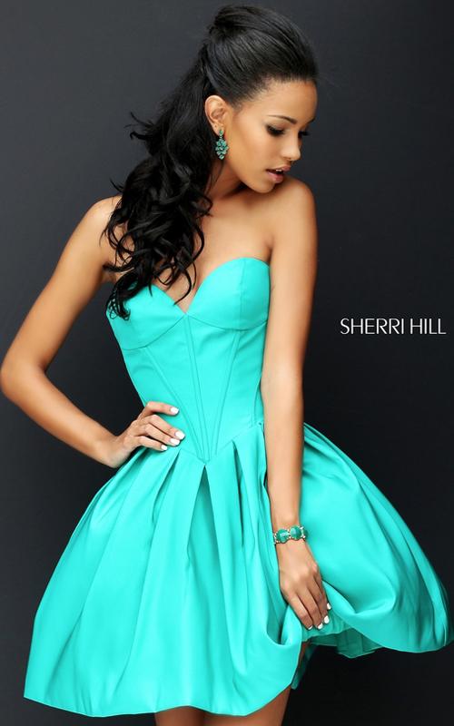 Sherri Hill 50501 Emerald A Line Taffeta Party Dress